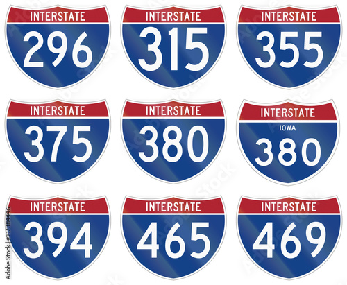 Fotografia  Collection of Interstate highway shields used in the US