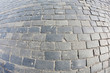 Stone pavement texture, Moscow, Russia, Red Square, fisheye