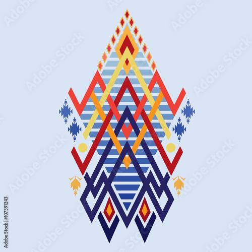 Vector Aztec Stile Tribal Elements Ethnic Mix Geometric Textile With Light Blue Color Background