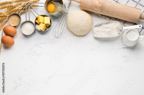 Baking cake with dough recipe ingredients Poster Mural XXL