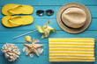 Beach accessories on wood