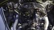 Retro car engine renovated zoom out close up
