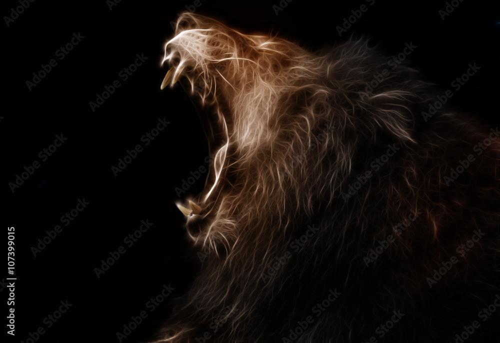 Digital fractal design of a lion