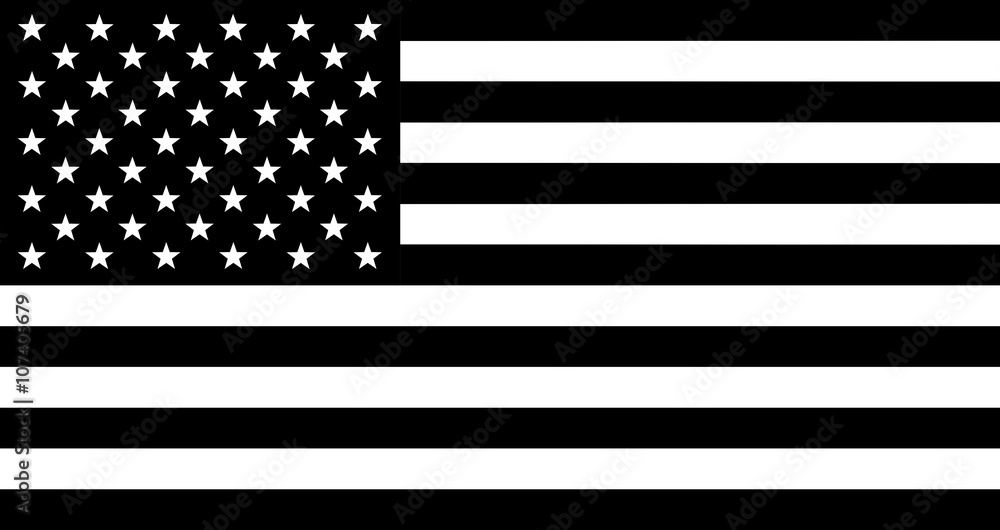 Fototapeta Black and white flag of United States of America