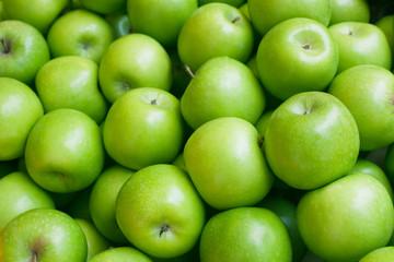fototapeta jabłko. zielone tło