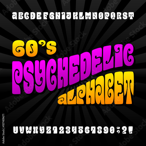 Photo  Psychedelic alphabet vector font