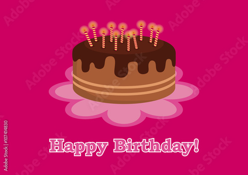 Birthday Card For Girl Birthday Cake For Kids Birthday Vector