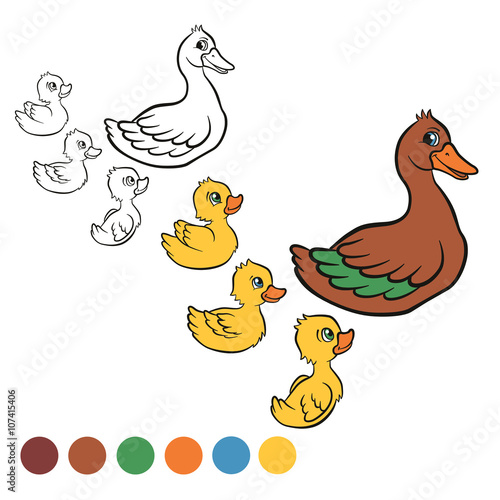Coloring Page Color Me Duck Kind Duck And Free Little Cute Ducklings Swim On The Lake They Are Happy And Smile Stock Vector Adobe Stock