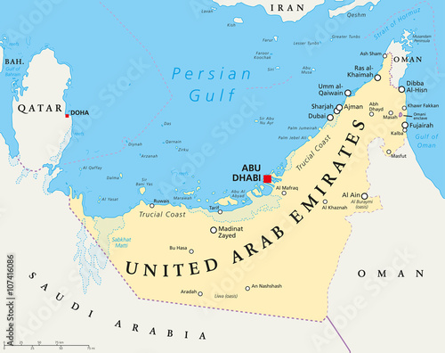 UAE United Arab Emirates political map with capital Abu Dhabi, national borders, important cities and bodies of water Tapéta, Fotótapéta