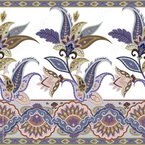 Fotografie, Obraz  Ornamental flowers seamless paisley pattern