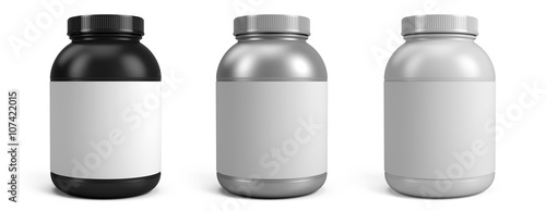 Fotografia  Can of protein or gainer powder with blank label isolated on white background