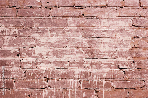 Red Brick Wall Texture With A Paint Spot The Background Of The