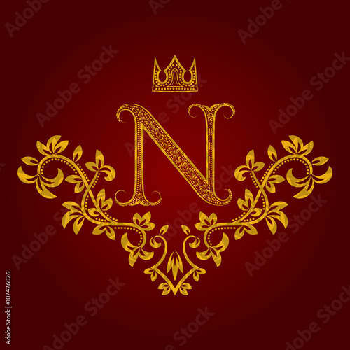 Patterned Golden Letter N Monogram In Vintage Style Heraldic Coat