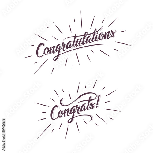 Congratulations Hand Lettering Calligraphic Greeting Inscription Vector Handwritten Typography Card