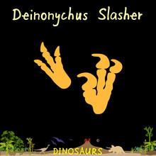 Deinonychus Slasher Dinosaur Fossil Footprint In Prehistoric Landscape Background