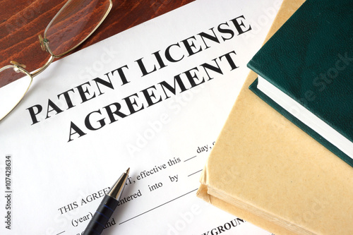 Patent License agreement on a table. Copyright concept. Canvas Print