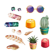 Icon Set Of Bohemian Home Stuff With Sunglasses, Crystals, Plants, Candles, Seashells And Feathers On White Isolated Background