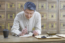 Senior Chinese Doctor Checking Medicinal Herbs