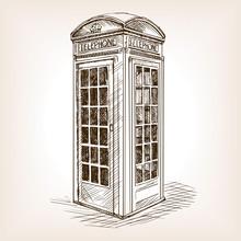 Vintage Phone Booth Sketch Vector Illustration