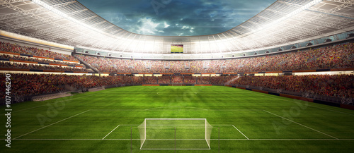 widok panaram na stadion piłkarski - panorama stadionu przed rozpoczęciem gry