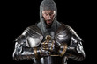 canvas print picture - Medieval Warrior with Chain Mail Armour and Sword