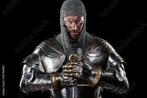 Obraz na plátne Medieval Warrior with Chain Mail Armour and Sword