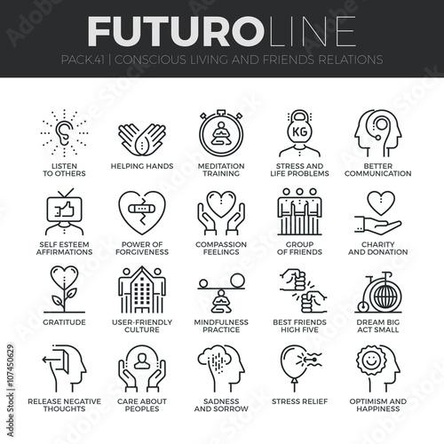 Fotografia Conscious Living Futuro Line Icons Set