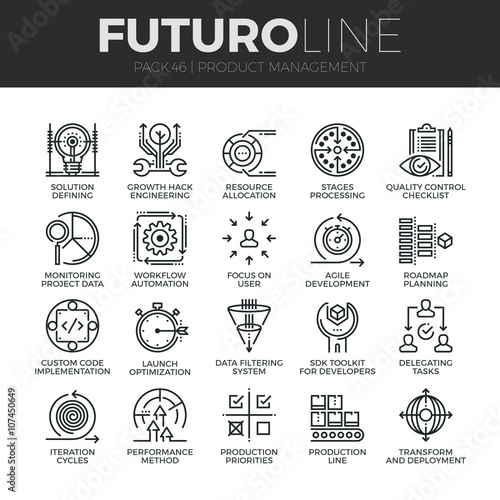 Fotografía  Product Management Futuro Line Icons Set
