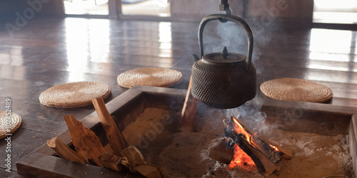 Photo Irori (Japanese hearth) at traditional house