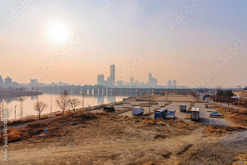 view of Han river during sunset in Seoul Poster