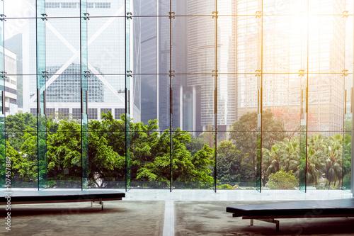 Fototapeta Interior of modern building in Hong Kong obraz na płótnie