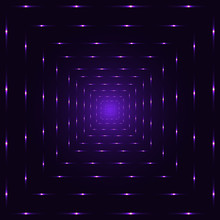 Purple Neon Laser Perspective Abstract Tunnel, Violet Punctuated Square Lines