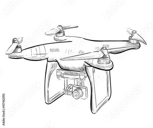 Hand Draw Vector Illustration Aerial Vehicle Quadrocopter Air Drone