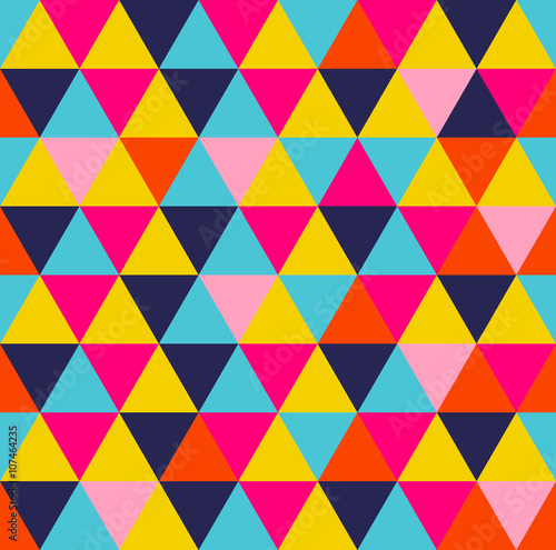Fotografie, Obraz  Colorful triangle geometric seamless pattern