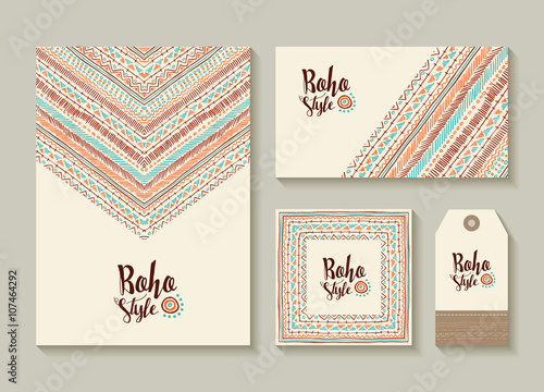 Fotografia, Obraz  Boho style card and tag designs with colorful art