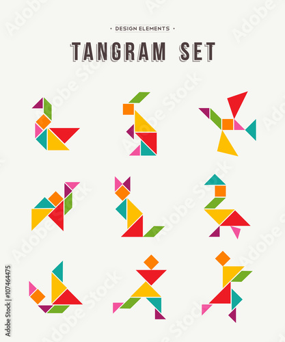 Tangram set creative art of colorful animal shapes