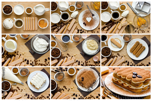 Fotografie, Obraz  Recipe step by step tiramisu