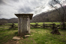Wooden Outhouse. Wooden Outhouse On Display In The Great Smoky Mountains National Park.