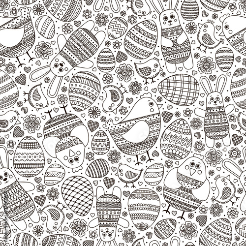 Cotton fabric Cute Easter pattern. Vector seamless pattern with doodle easter elements. Outline doodle eggs, chicken, bunny, flowers and hearts with ornament.