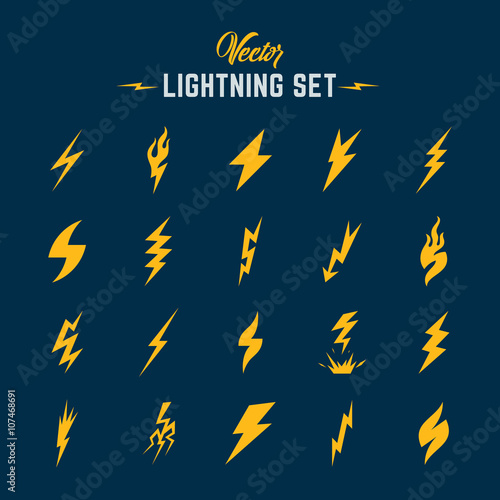 Fotografía  Unusual Abstract Vector Lightning or Blizzard Flat Style Icon Set