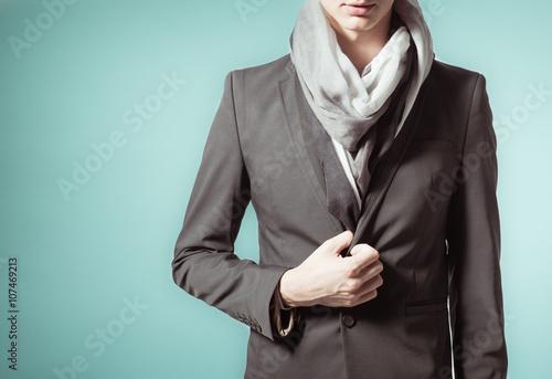 Fotografie, Tablou  Closeup of male model wearing a trendy coat.