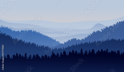 Photo Stands Night blue Mountain Range Background