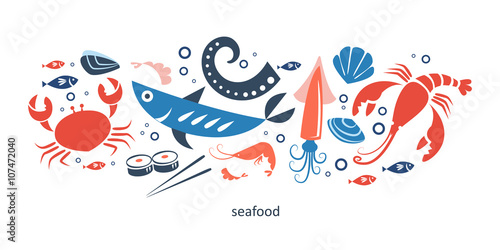 Fotografia seafood objects collection