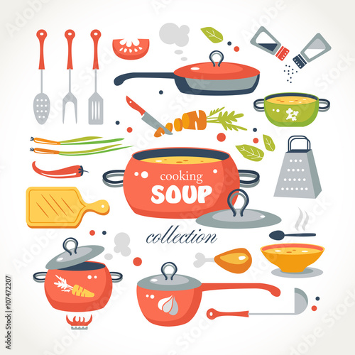 Fototapeta cooking soup objects collection obraz
