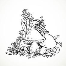 Decorative Graphics Mushrooms ...