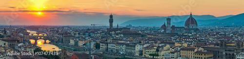 Foto auf Leinwand Florenz Florence panorama city skyline when sunset, Italy