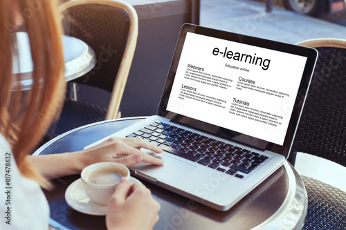 e-learning, education online concept, woman with laptop