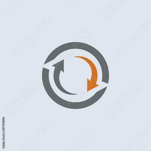 Fotomural  Gray-orange Cycle Round Icon
