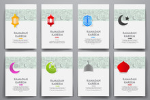 Corporate Identity Vector Templates Set With Doodles Ramadan Theme