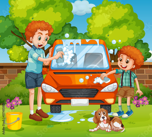 Foto op Canvas Magische wereld Father and son washing car in the backyard